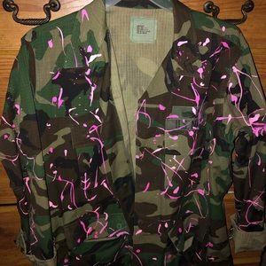 Pink splattered camouflage jacket